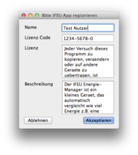 Registrierung der Software
